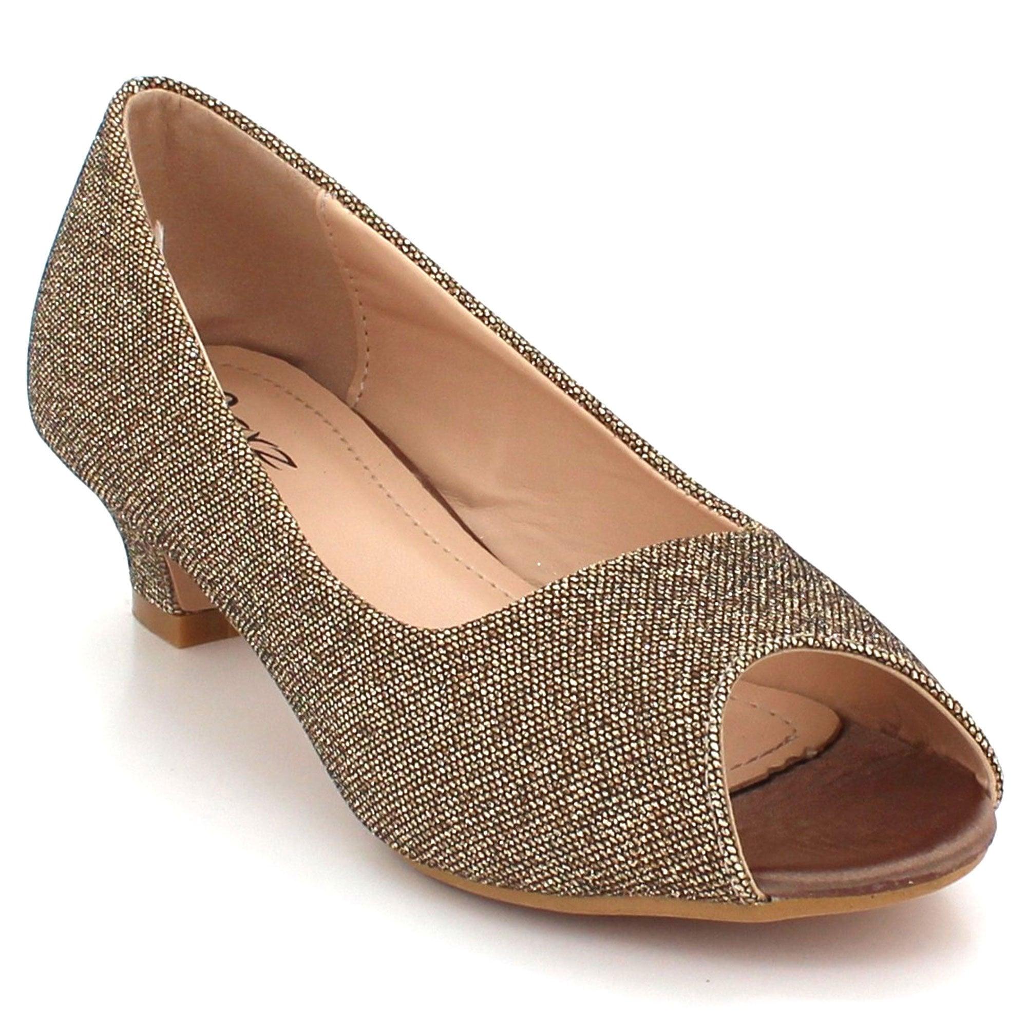3734b8ed3c4 Aarz London Anora- Glitter Peep-toe Shoes