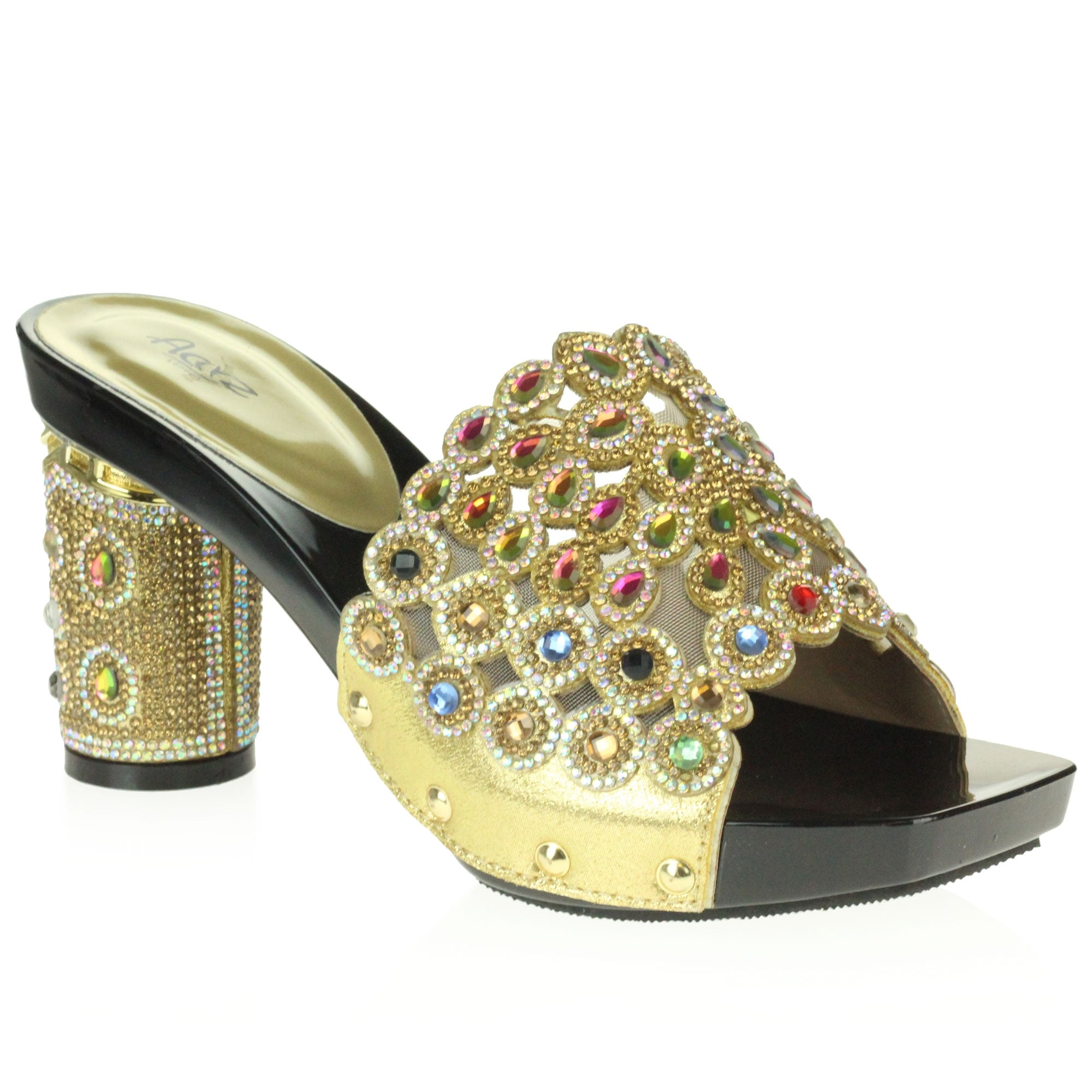 65f6be2ccbc Aarz London Brenna- Embellished Crystal Block-heels