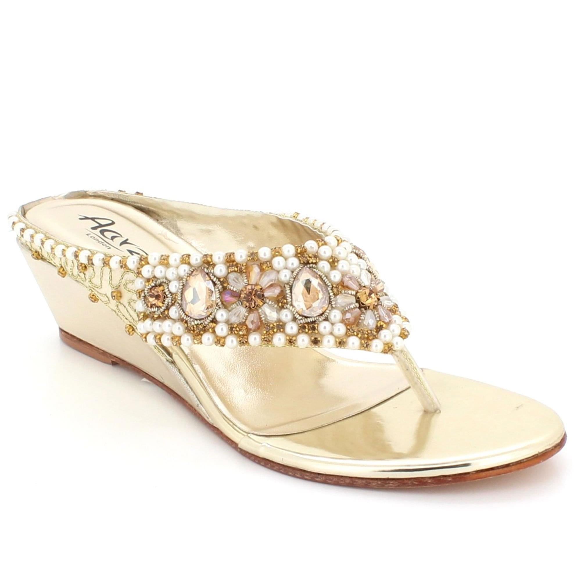 fa6e1265457a0 Aarz London Elmira- Rhinestones Wedge-heel Sandal
