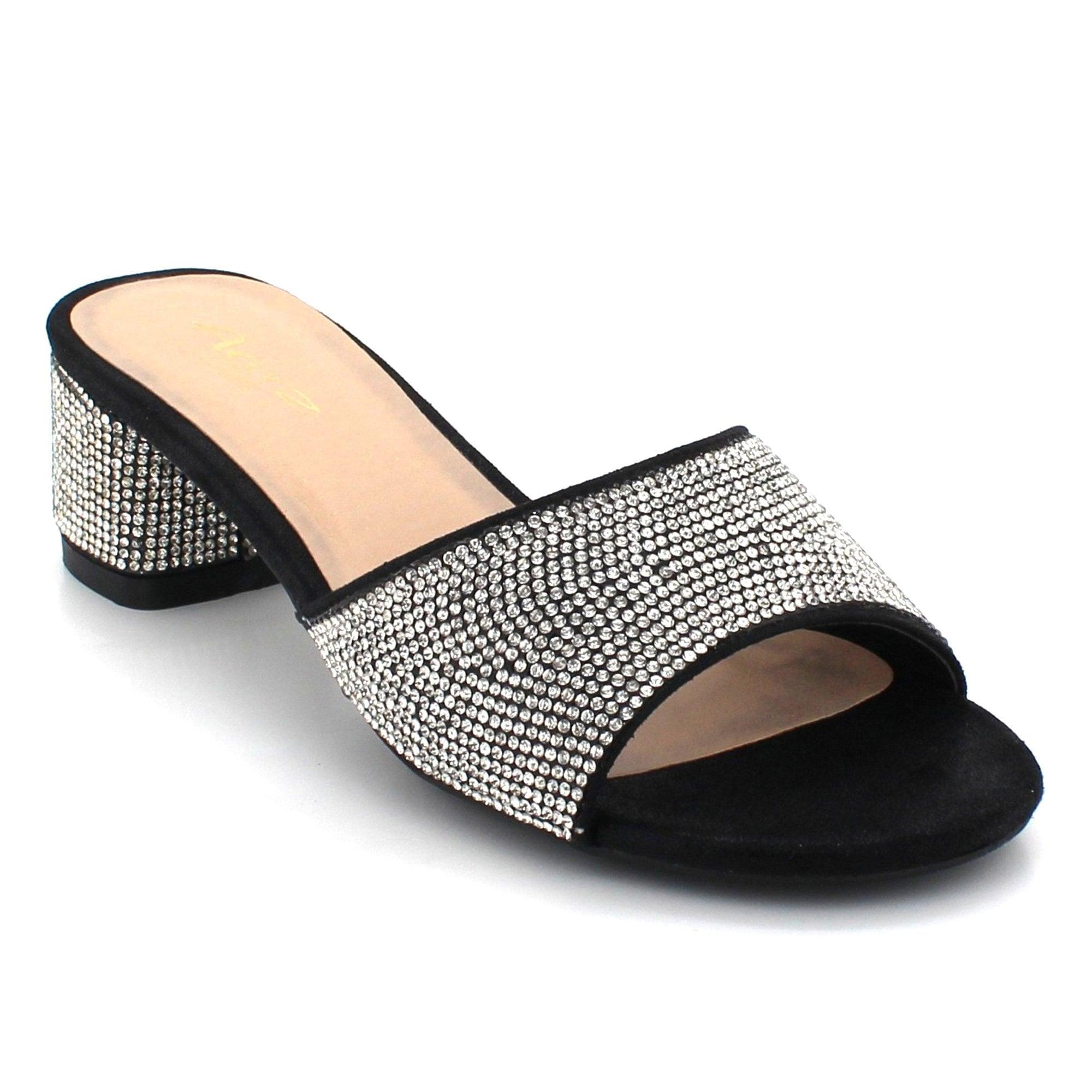 31a28cd9f4 Aarz London Lettice- Crystal Block-heel Sandal