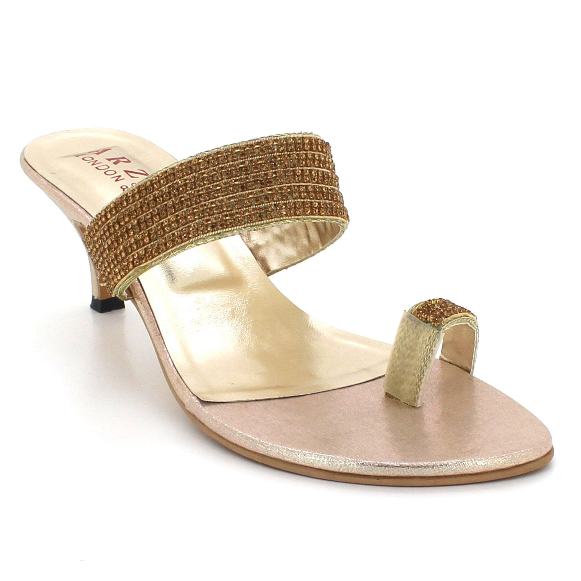 8ca9c384a00bb8 Aarz London Yasmin- Toe-Ring Low-Heel Footwear. Ladies Open Toe Diamante ...